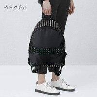 Rivets Backpack Bag Punk Backpack Women Teenager Luxury Design Brand High Quality Large Big Black Backpack