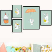 Baby Rabbit Nursery Wall Art Canvas Painting Cartoon Nordic Posters And Prints Pictures Kids Room Girl Boy Decor