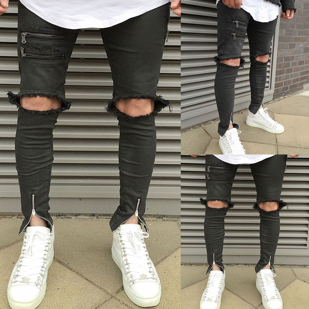 2017 Hollow Out New Arrival Young Cool High Street Hip-hop Mens Denim Ripped Jeans Stylish Design Breathable Black Jeans Hombre