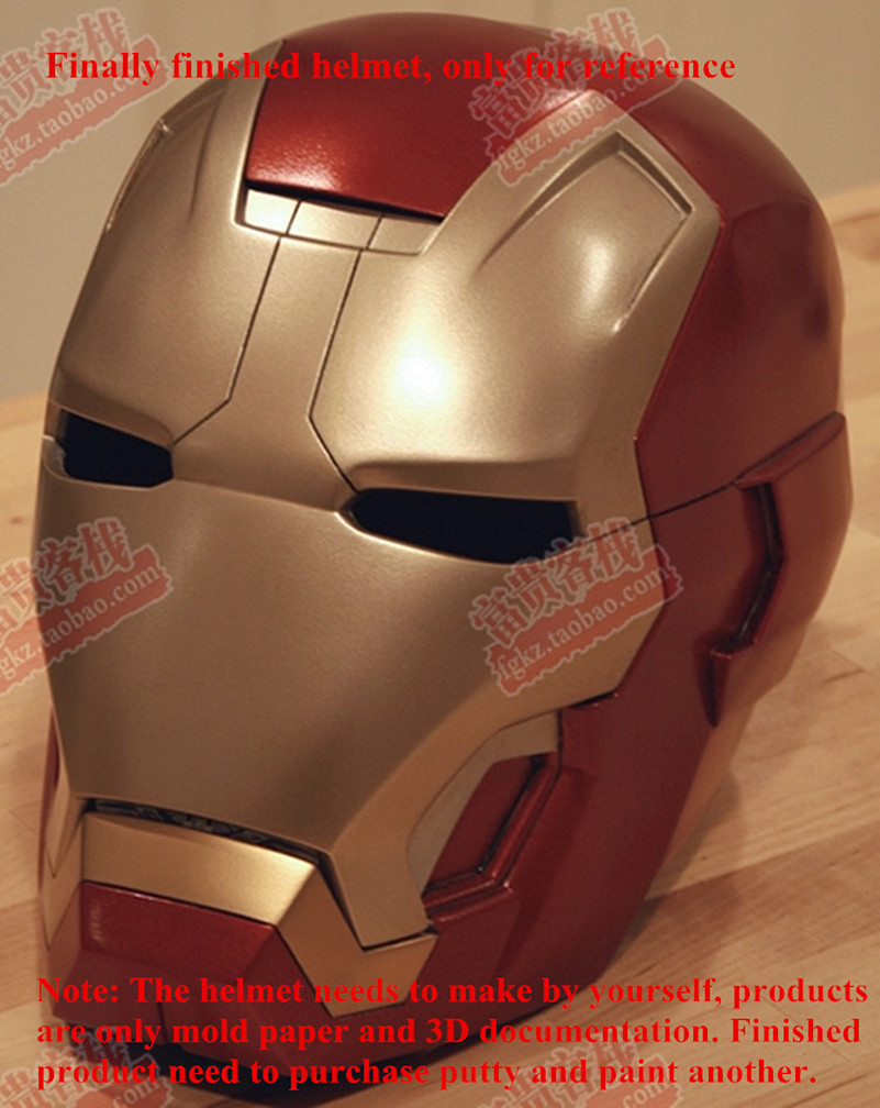 Iron Man Helmet Must Make Their Own Paper Model DIY 1:1 Can Be Worn Head