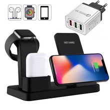 10W Qi Wireless Charger Stand For Apple Airpods Watch 4 3 2 1 Fast Wireless Charging Charger Dock Station For Iphone X 8 Xiaomi carprie qi fast 3 ports wireless charger holder stand charging dock for iphone x apple pencil airpods 20a drop shipping