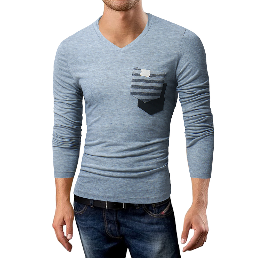 2018 New Men T Shirts Long Sleeve Casual V Neck Front