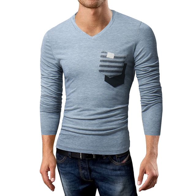 2018 New Men T Shirts Long Sleeve Casual V Neck Front Pocket Design