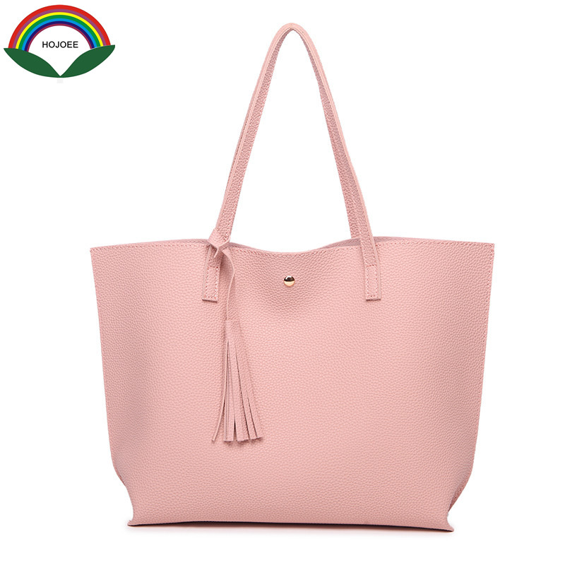 TopHandle Bag Big Bags Women Tote Tassel Casual High Grade Embossed Solid Bag With Cell Phone Pocket High Quality Hot Explosion
