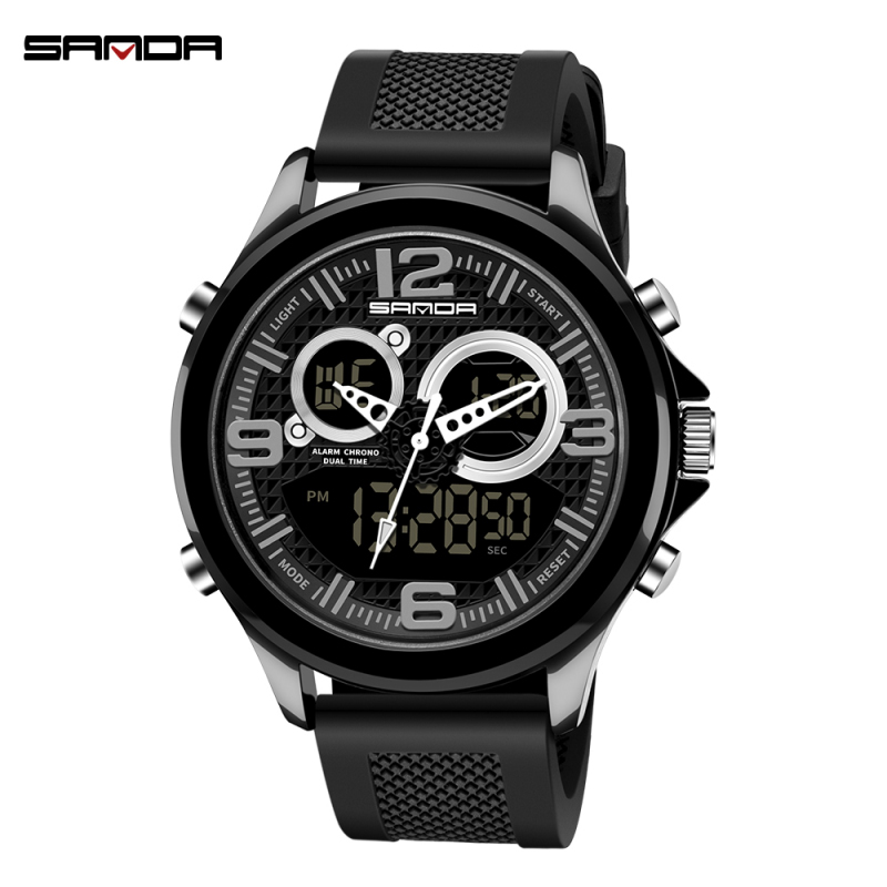SANDA Men Watches Chronograph Dual-Display Waterproof Top-Brand Miliary Fashion Luxury