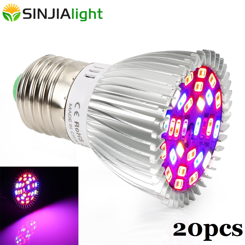 20pcs/lot 28W Plant Lamp LED Grow Lights Full Spectrum LED Bulb For Plants Growing Flowers Hydroponics Grow Box Wholesale