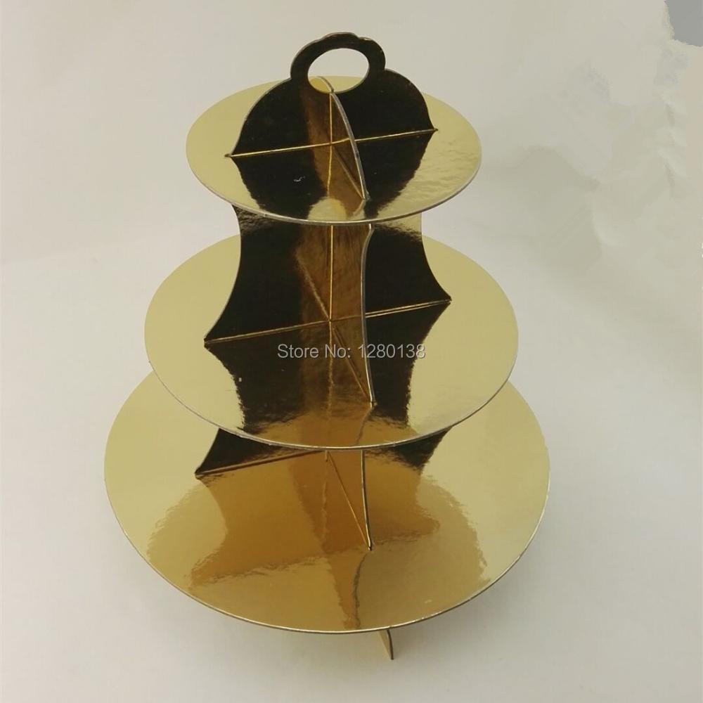 dc38082d91fb 3 уровня картона торт стоять золото Фольга серебро Фольга Свадебная  вечеринка торт Cookie блестящие cupckae стенд партия Дисплей
