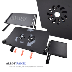 Image 5 - Aluminum Alloy Adjustable Laptop Stand Laptop Desk Bed Standing Notebook Stand With Cooling Fan Mouse Board For Bed Sofa Tray