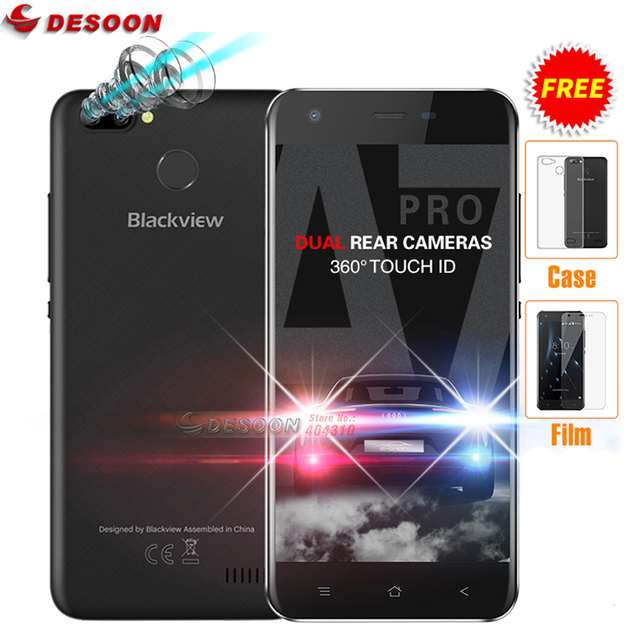 """Blackview A7 Pro 4G LTE Mobile phone Android 7.0 MTK6737 Quad core 5.0""""HD 2GB RAM 16GB ROM Dual Rear Camera Touch ID Smartphone"""