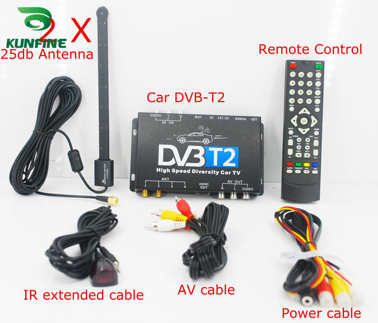 HDTV <font><b>Car</b></font> DVB-T2 DVB-T MULTI PLP Digital <font><b>TV</b></font> Receiver automobile DTV box With Two Tuner Antenna image