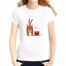 girls tops tees casual T-Shirt Women Short Sleeve soft Breathable t shirt  hand drawing cute rabbit fox cat bird cartoon tshirt
