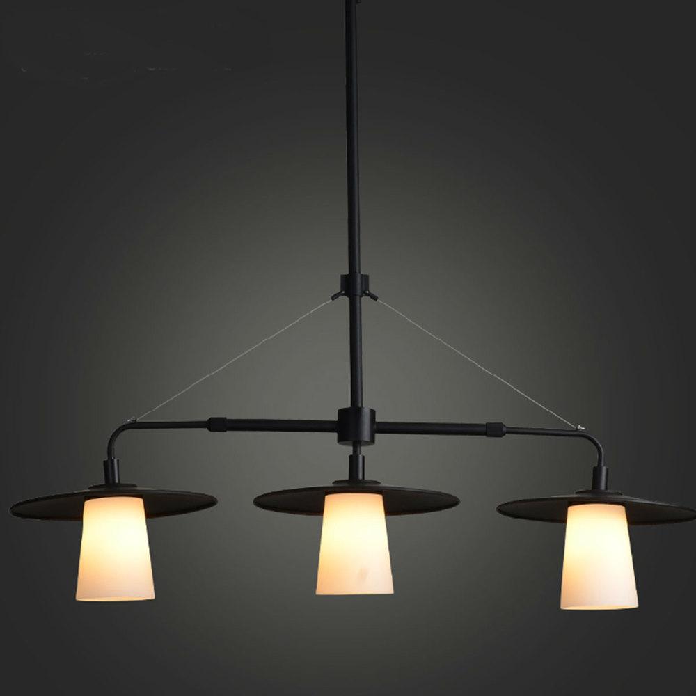 Moderne vintage glas kronleuchter schwarz drei kopf esszimmer europäischen stil lampe e27china mainland