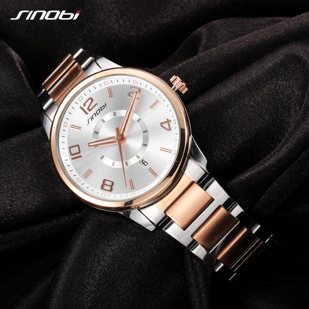 SINOBI Fashion Golden Women's Watch 2019 Women Bracelet Wristwatch For Ladies Quartz Geneva Watches Waterproof Relogio Feminino