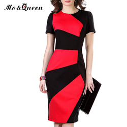 Office women dress 2016 patchwork high waist work summer dress slit new font b fashion b.jpg 250x250