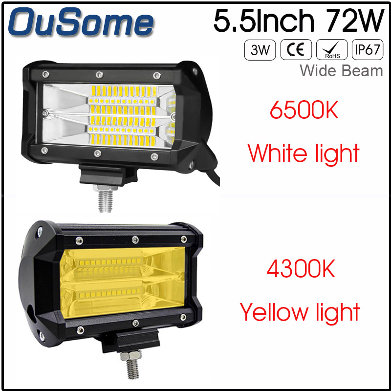 2 pack 5.5 inch 72w new flood beam waterproof 4x4 tractor car truck 12v 24v DC offroad LED work light 4300K 6500k