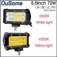 OuSome 2 pacote 5.5 polegada 72 w new wide feixe de inundação do feixe à prova d' água 4×4 trator truck car 12 v 24 v DC offroad LED trabalho luz