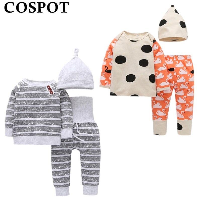 COSPOT 2018 New Baby Girl Boy Clothing Set 3Pcs Hat+T-shirt+Pants Spring  Newborn Baby Boy Girl Children Clothes Pajamas Set 30C
