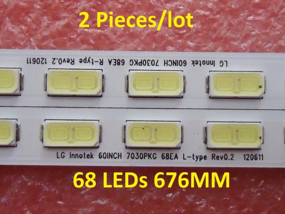 נוריות 676mm 2 חתיכות / הרבה LCD-60LX640A LCD-60LX540 60LX750A LED רצועה עבור LG Innotek 60INCH 7030PKG 68EA R L צמיגים REV0.2 120,611 68 נוריות 676MM (1)