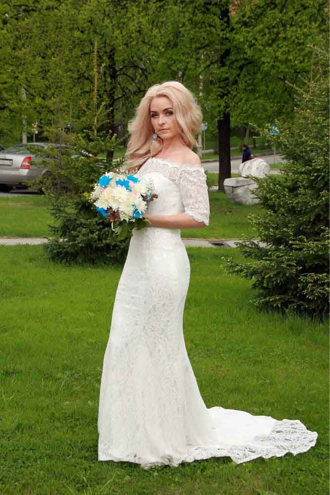 JIERUIZE White Lace Boho Mermaid Wedding Dresses Half Sleeves Off The Shoulder Beach Bridal Dresses Elegant Wedding Gowns