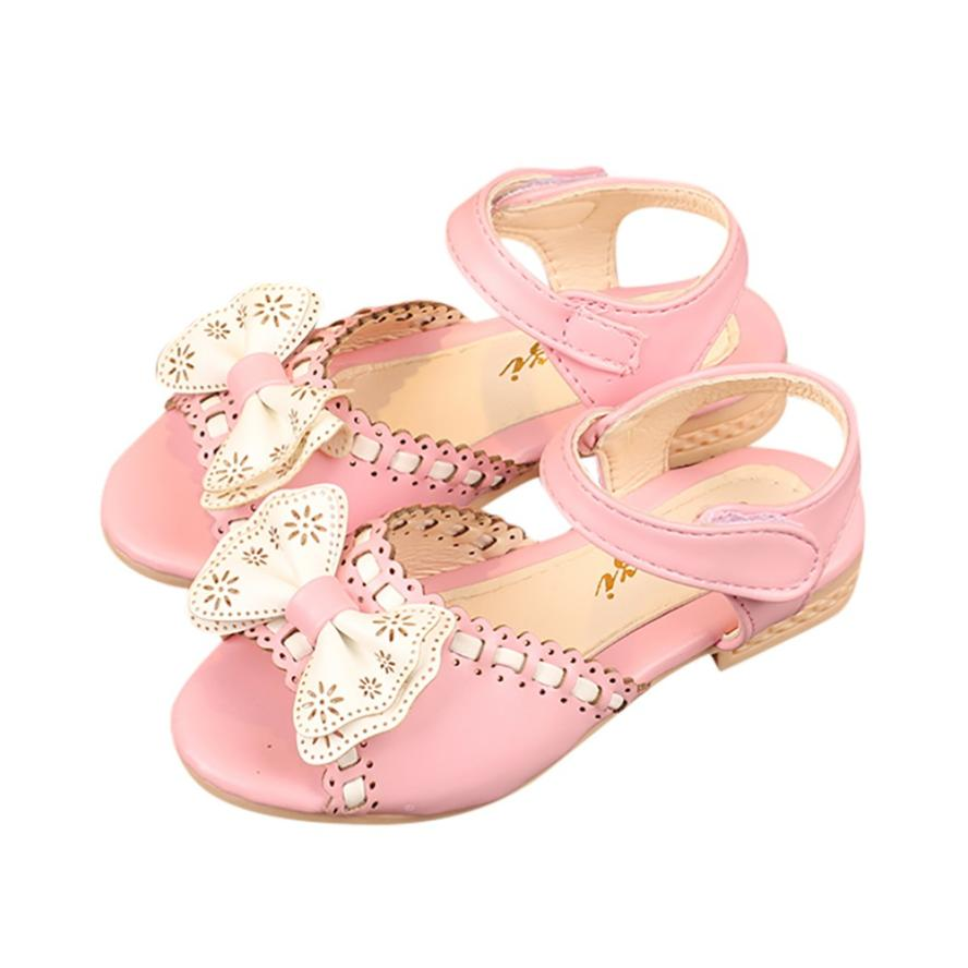 Mooistar2 #4005 Children Infant Kids Girls Wave Bowknot Princess Sandals Wedding Casual Shoes