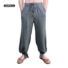 171d8fc8f Men Casual Pant Chinese Style Cotton Linen Comfortable Breathable Male Wide  Leg Pants Plus Size Loose