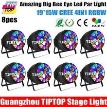 Новое Прибытие 8 Упак. 19×15 Вт RGBW 4IN1 Big B Глаз Led номинальной Света Zoom 4-60 Градусов Led Индивидуальный Контроль Фон Эффект Луча