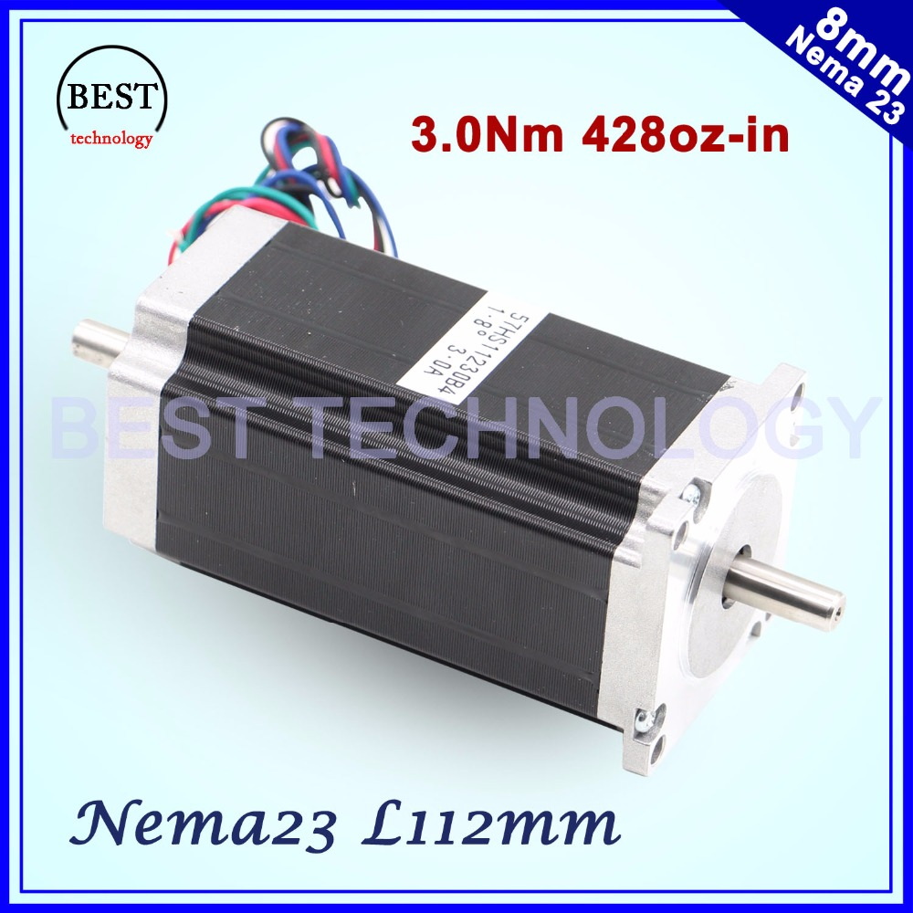 CNC NEMA23 stepper motor 57x112mm 4-lead 3A 3N.m double shaft 112mm 428Oz-in for 3D printer for CNC engraving milling machine