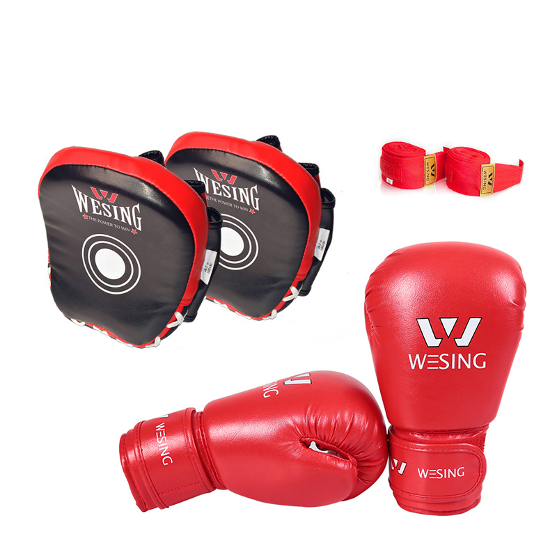 3 set wesing kids boxing training equipment gear boxing gloves boxing punch mitts boxing handwraps wesing aiba approved boxing gloves 12oz competition mma training muay thai kickboxing sanda boxer gloves red blue