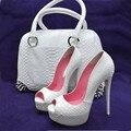 Sapatos SHOFOO. moda Elegante, frete grátis, tecido de couro, 12.5 cm saltos altos, bombas peep toe, sapatas das senhoras. TAMANHO: 34-45