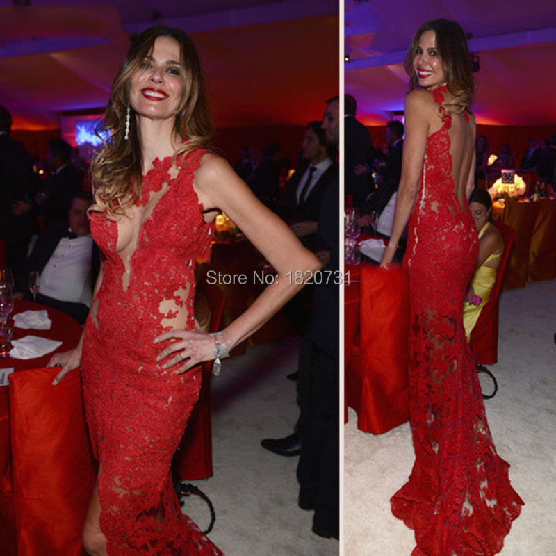 Us 1192 20 Offtank O Round Neck Exquisite Lace Mesh Back Sheer Sexy Skirt Lace Train Mermaid Fashion Red Lace Prom Dresses Vestido 2019 Hot In