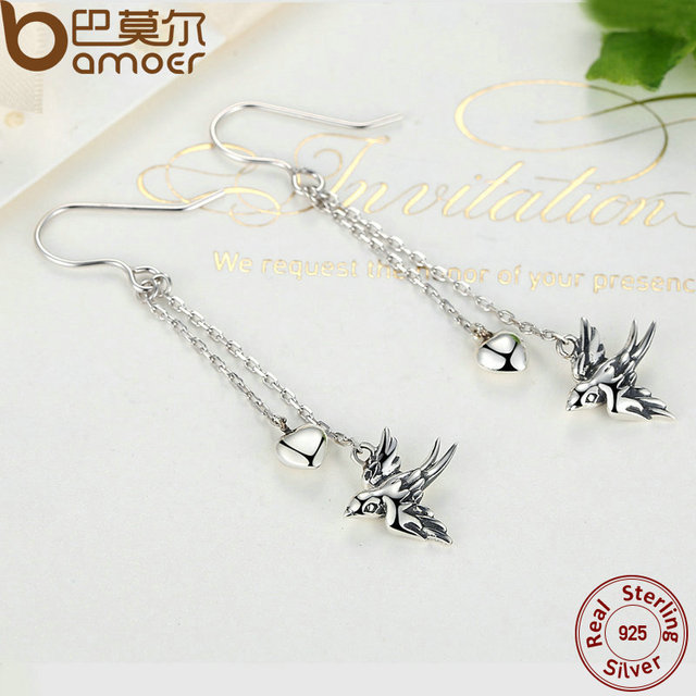 Sterling Silver Long Drop Swallow Earrings