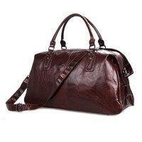 Мужская винтажная Дорожная сумка из коровьей кожи, натуральная кожаная сумка для багажа, кожаная сумка тоут для путешествий