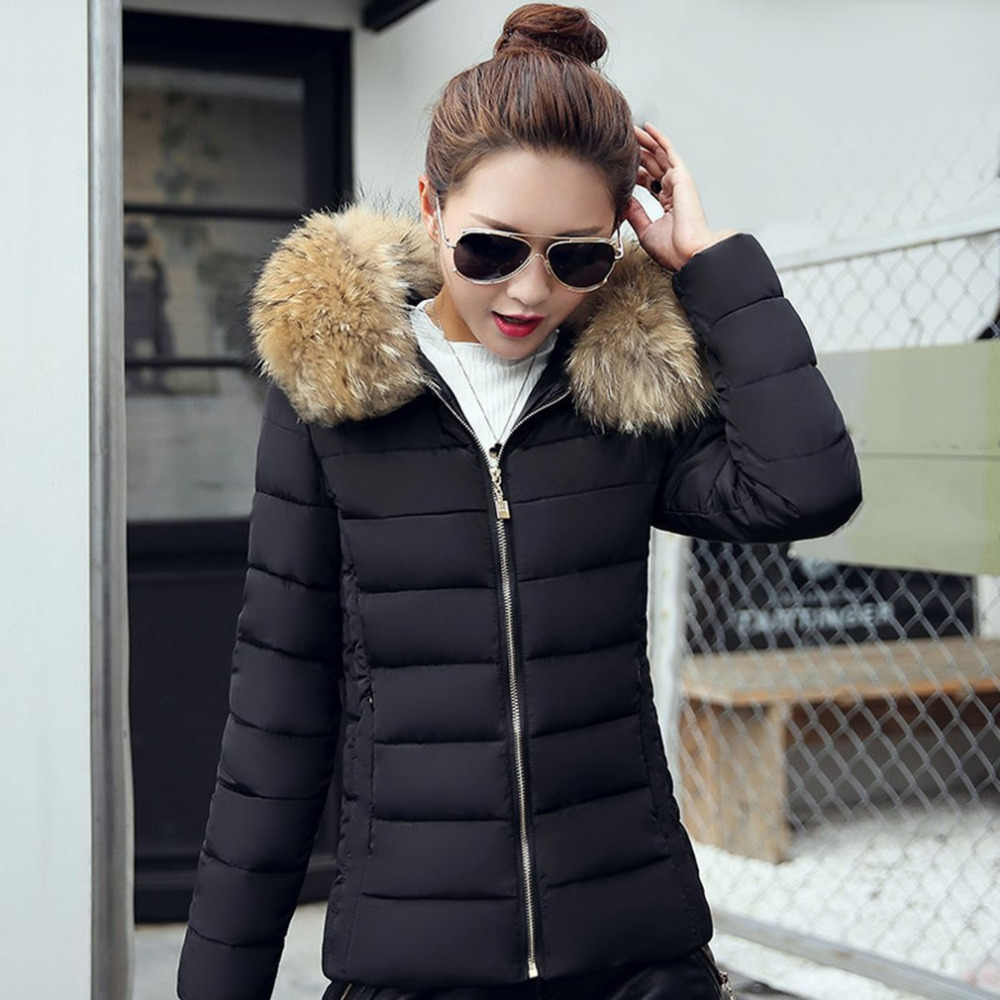 Hot! 2017 New Fashion Winter Jacket Women Fake Raccoon Fur Collar Winter Coat Women Parkas Warm Jacket Female outerwear overcoat 2017 winter new clothes to overcome the coat of women in the long reed rabbit hair fur fur coat fox raccoon fur collar