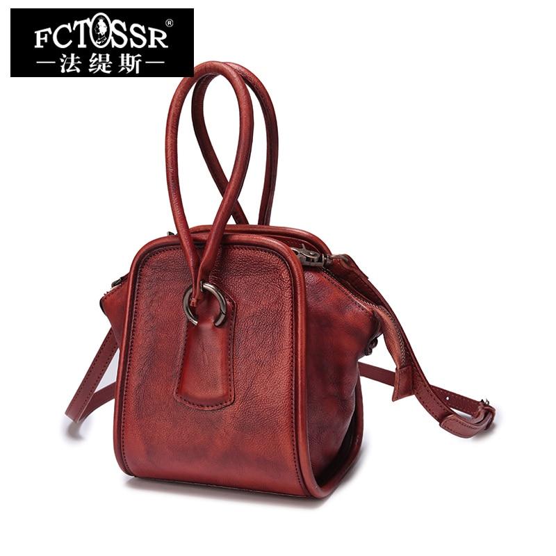 Małe torebki damskie Handmade Retro na ramię torba ze sznurkiem z prawdziwej skóry Messenger torba damska z górnym uchwytem osobowość torebka torebka w Torebki na ramię od Bagaże i torby na  Grupa 1