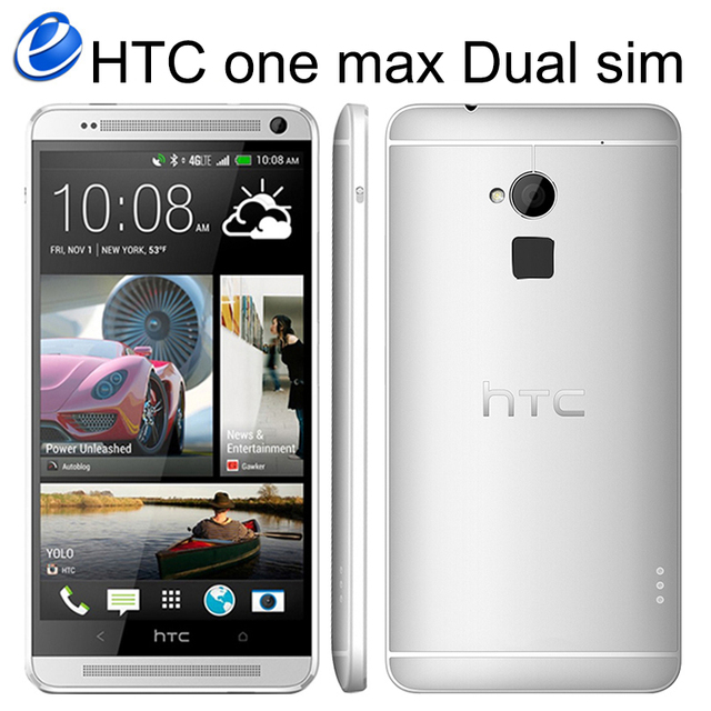 Unlocked HTC One Max Dual sim 16GB ROM 2GB RAM Quad-core 3G Mobile Phone 5.9inch 4MP WIFI GPS HTC ONE MAX Smartphone Android GPS 2