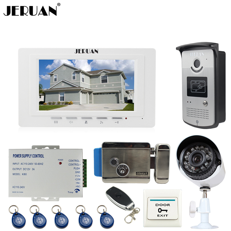 JERUAN white 7``Video Door Phone Intercom System kit RFID Access Camera+700TVL Analog Camera+remote control+E-lock+Exit button jeruan apartment 4 3 video door phone intercom system kit 2 monitor hd camera rfid entry access control 2 remote control