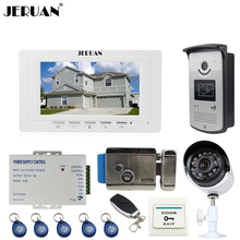 "JERUAN white 7""Video Door Phone Intercom System kit RFID Access Camera+700TVL Analog Camera+remote control+E-lock+Exit button"