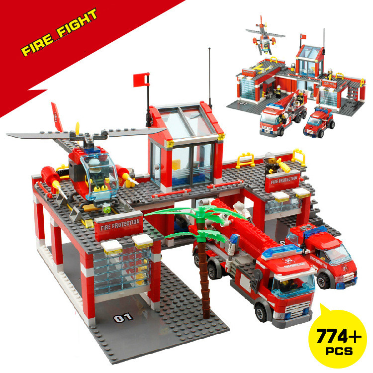 8051 Model Building Blocks Fire Station Set 774+pcs Bricks ABS Plastic Educational Toys For Children large fire station building blocks bricks educational toys learning education baby 2 5 years constructor set toys for children