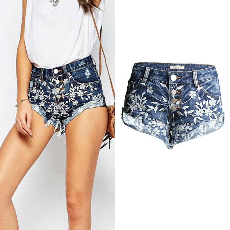 Women's Clothing Realistic New Fashion Summer Sexy Short Pant Hole Blues Denim Shorts Feminino Floral Embroidery Denim Mid Waist Tassel Short Jeans