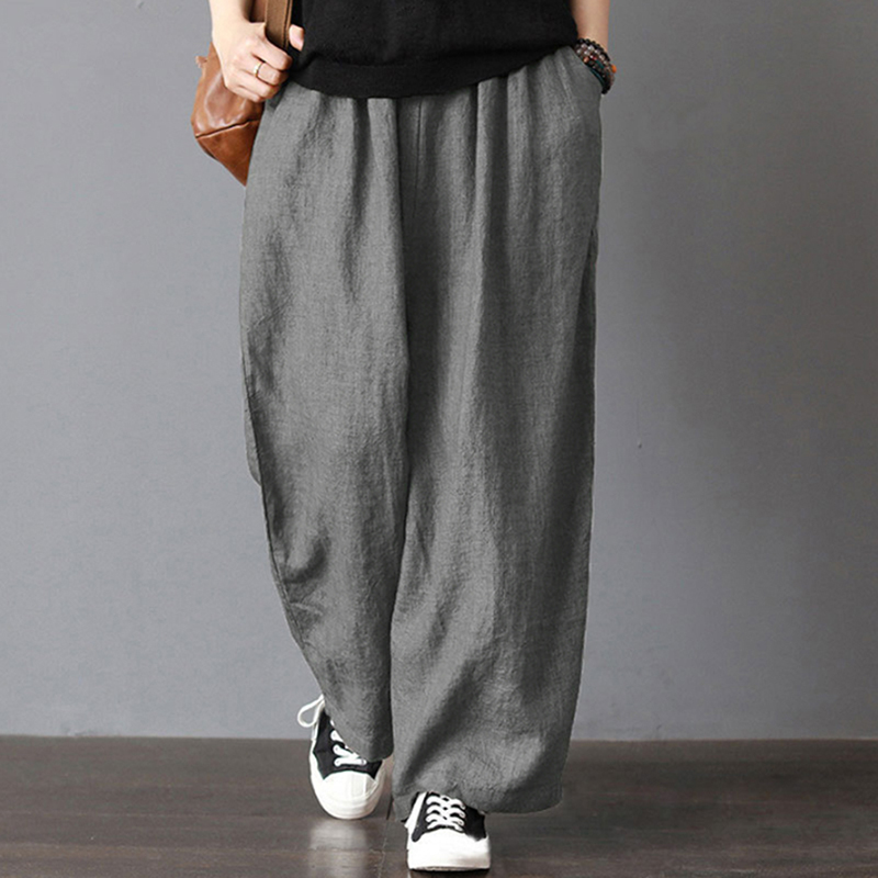 2019 New Summer   Wide     Leg     Pants   Casual Loose High Waist Pocket   Pants   Loose Solid Color Elasticated Trousers
