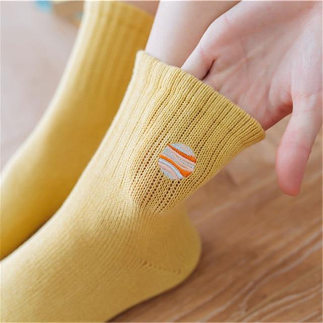 New autumn winter women socks Japanese cartoon embroidery planet astronaut rocket space patterned cotton unisex socks couple sox 5