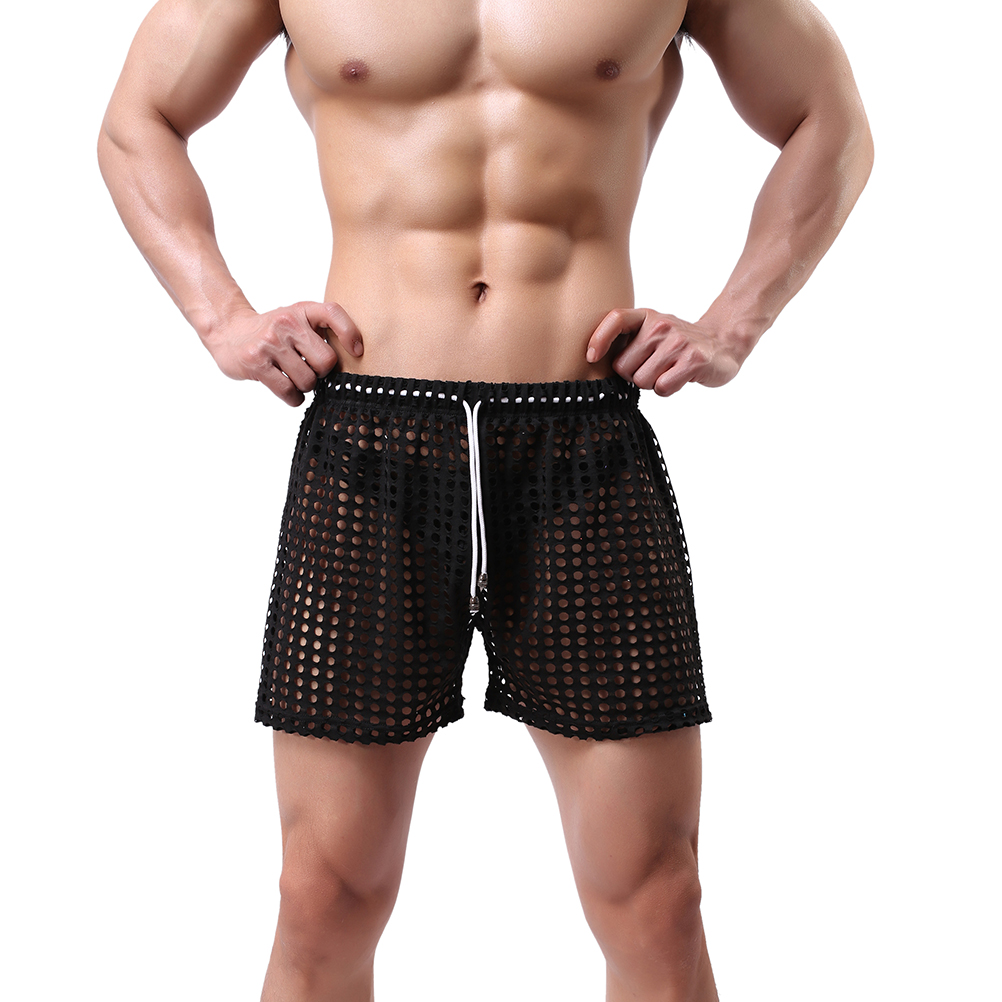 Mens Sleepwear Shorts Big Mesh Honeycomb Net Men's Home Pajamas Shorts Sexy Nylon Sleep Bottom Mens Sheer Pajamas
