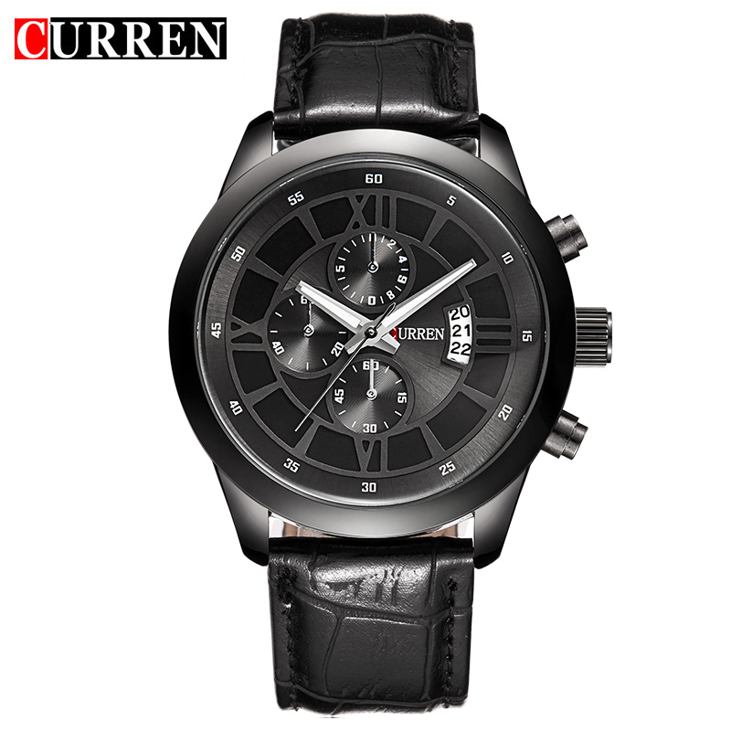 CURREN  Fashion Men Sports Watches Men's Quartz Hour Date Clock Man Leather Strap Military Army Waterproof Wrist Watch Male 8137 hot fashion men sports watchesv6 men quartz watch hour clock man silicone strap military army waterproof wristwatch male relogio