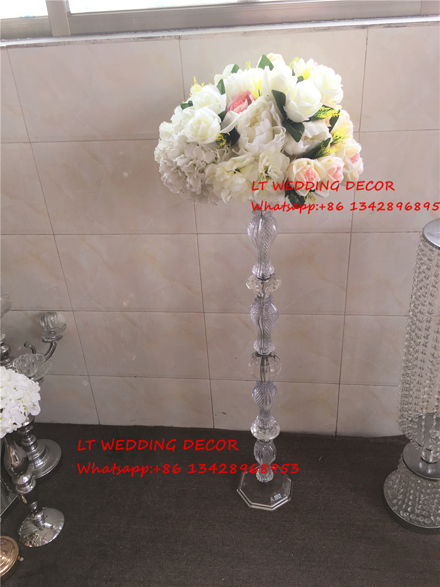 transparent acrylic crystal wedding table centerpiece candle holder candlestick flower stand
