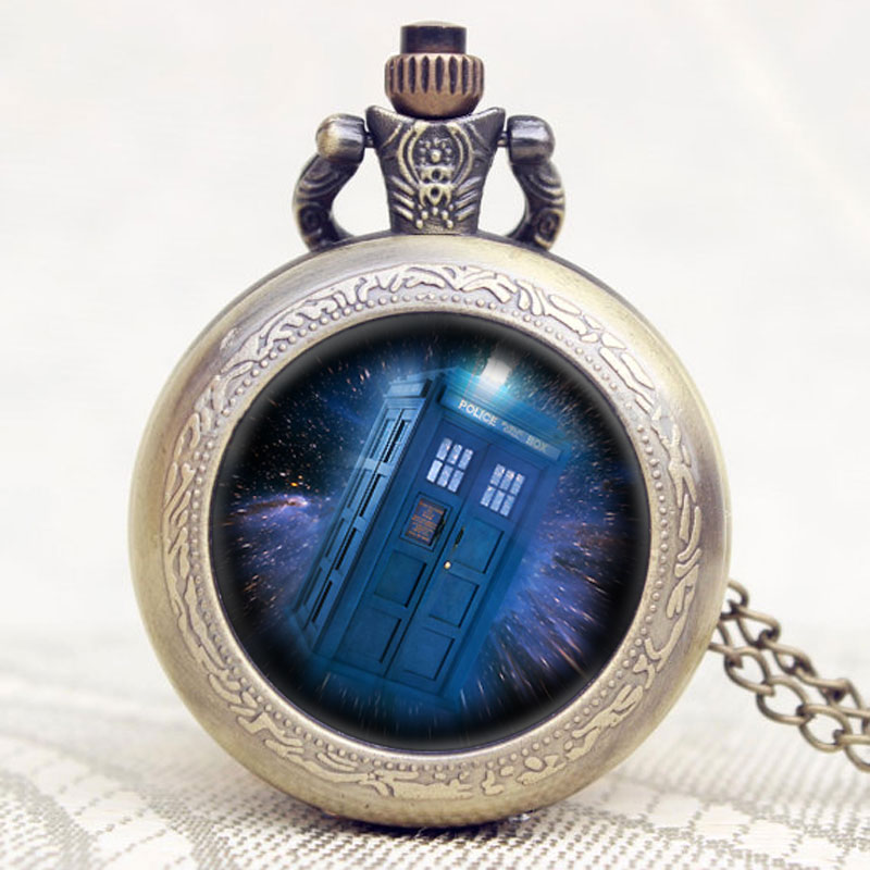 Doctor Who Theme Mysterious Police Box Design Glass Dome Pocket Watch With Chain Necklace