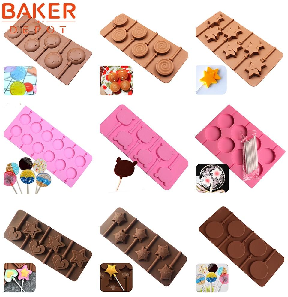 BAKER DEPOT Silikone slikkepind til slik chokolade rund kage bagning skimmel udsmykning form bakeware værktøj bjørn lolipops forme