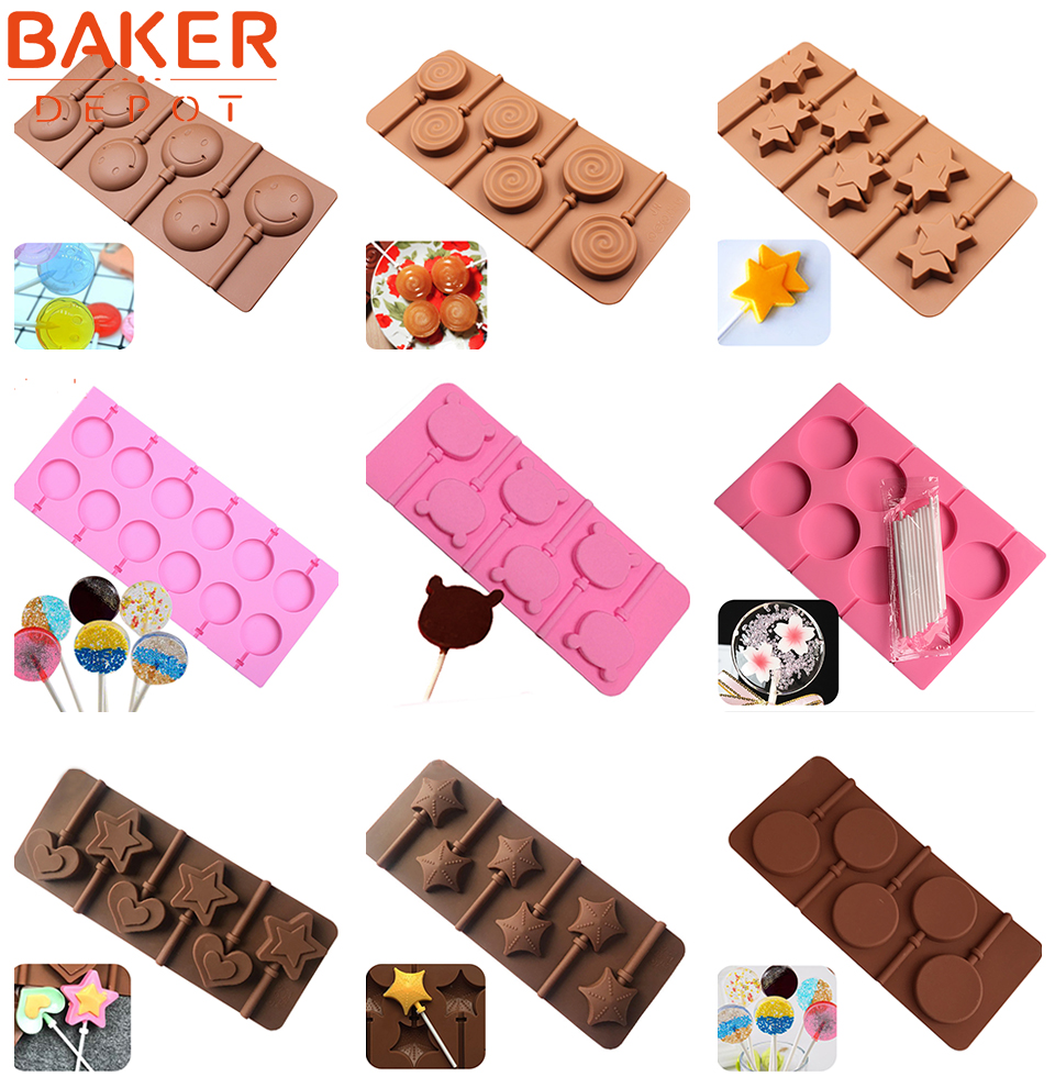 5 Small Flower Lollipop Candy Mould Diy Chocolates Biscuits Baking Tools Chocolate Mold Forma Moldes De Silicone Silikon Form Baking & Pastry Tools