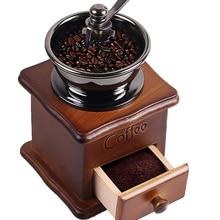 Ahşap El Yapımı Kahve Değirmeni Retro Ahşap Tasarım Kahve Değirmeni Makinesi Paslanmaz Çelik Retro Kahve öğütme makinesi Biber D...