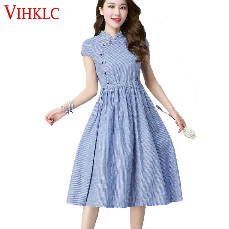 f183870c45 Women Summer Dress Short Sleeve Office Plus Size Dresses Cotton and Linen  kimono Striped Vintage mori