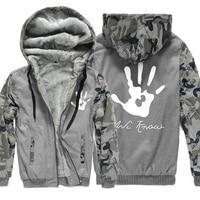 2017 Winter Fleece Thick Hoodies Men Print Skyrim Dark Brotherhood Hand Sweatshirt For Male Camouflage Hoody Brand Tracksuits